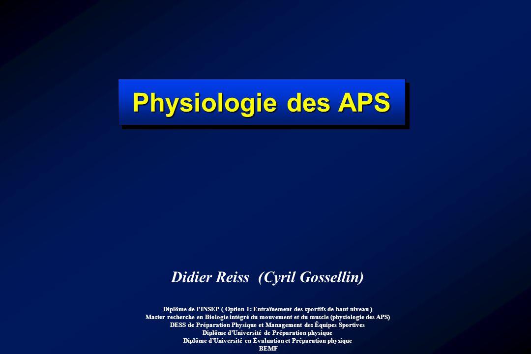 Didier Reiss (Cyril Gossellin) Diplôme de l'INSEP ( Option 1: Entraînement des sportifs de haut niveau ) Master recherche en Biologie intégré du mouve