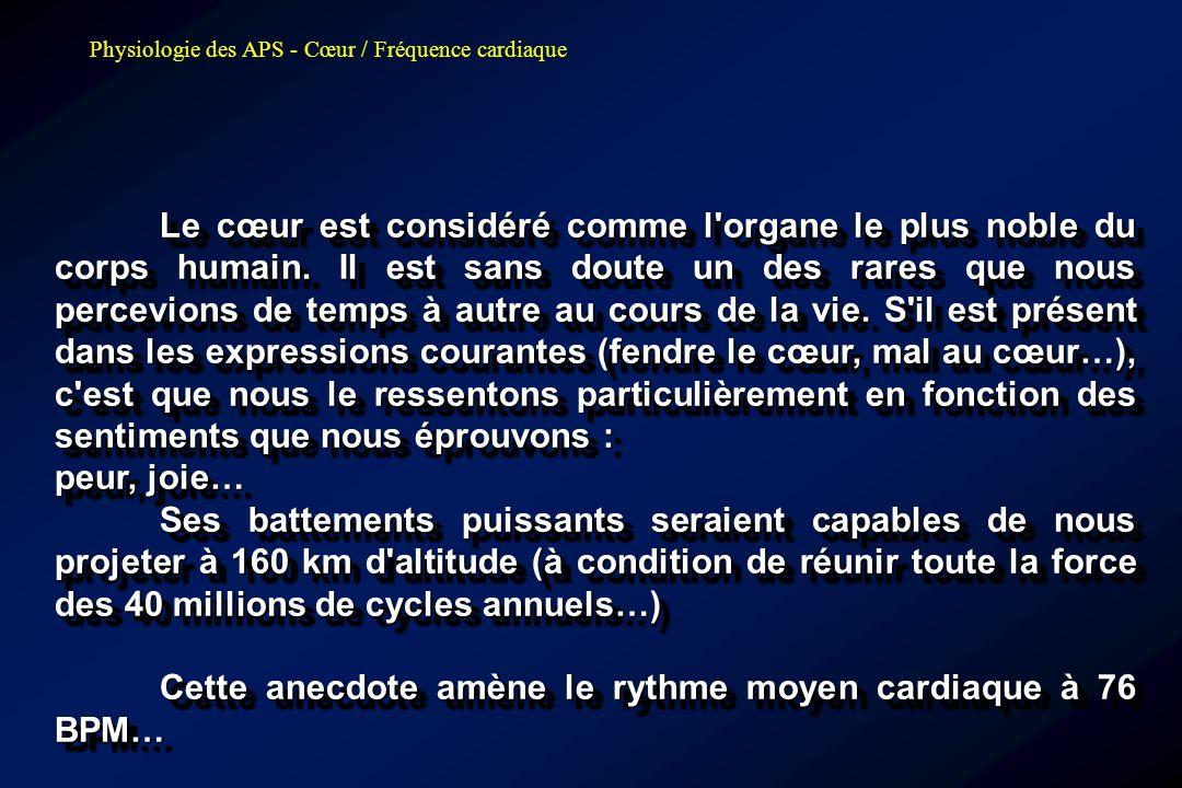 Physiologie des APS - Cœur / Fréquence cardiaque Sportif vs Sédentaire Sédentaire Sportif