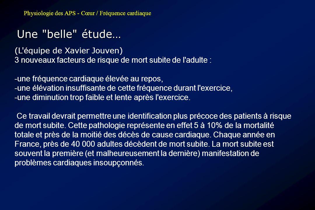 Physiologie des APS - Cœur / Fréquence cardiaque Une