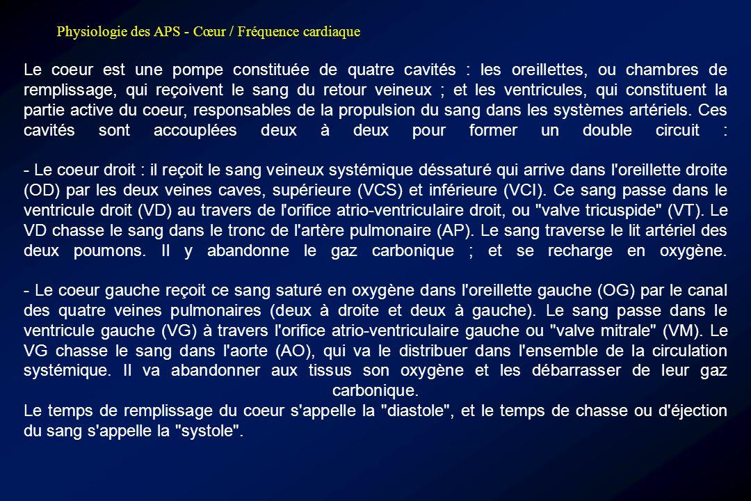 Physiologie des APS - Cœur / Fréquence cardiaque Indice Ruffier, Ruffier-Dickson •P1 = Fc repos; •P2 = Fc 30 flexions (en 45''); •P3 = FC récup après 1' •Ruffier ● I = [P1 + P2 + P3 – 200] / 10 I = 0  coeur exceptionnel 0 < I < 5  coeur robuste entraîné 5 < I < 10  coeur banal 10 < I < 15  coeur faible 15 < I < 20  dangereusement faible