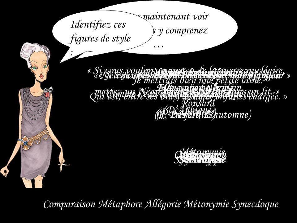 Voyons maintenant voir ce que vous y comprenez … Identifiez ces figures de style : Comparaison Métaphore Allégorie Métonymie Synecdoque « Notre amour
