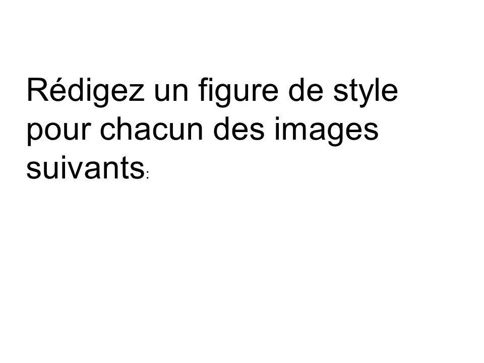 Rédigez un figure de style pour chacun des images suivants :
