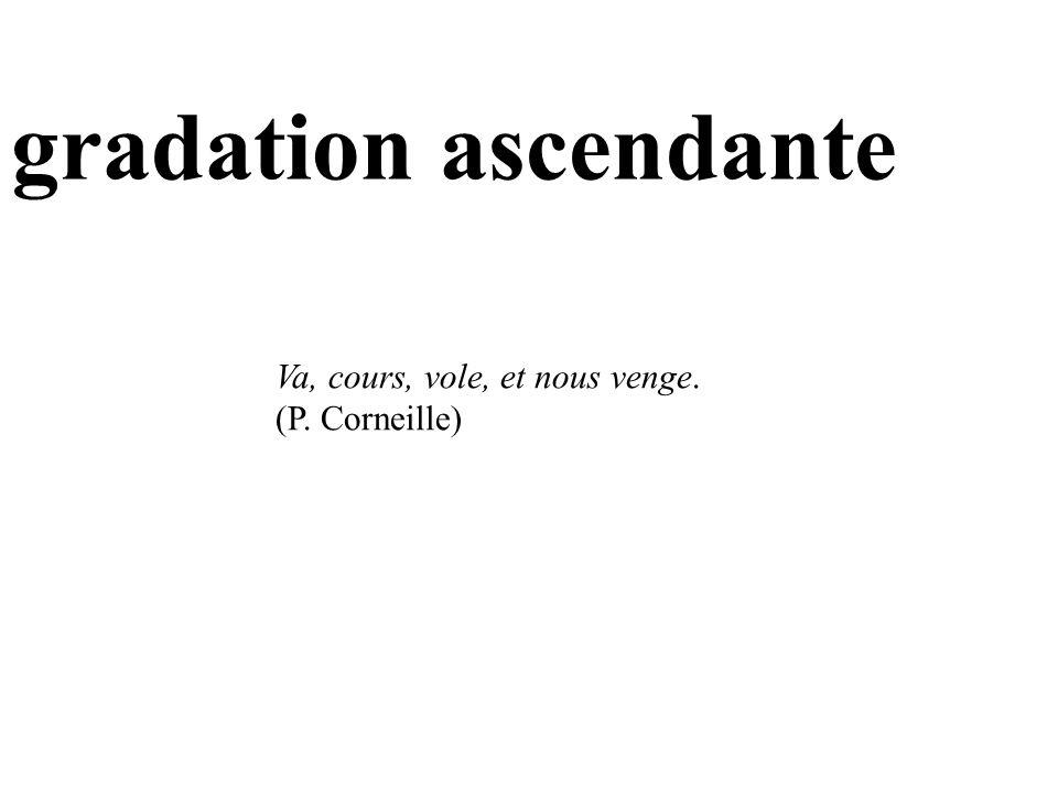 gradation ascendante Va, cours, vole, et nous venge. (P. Corneille)