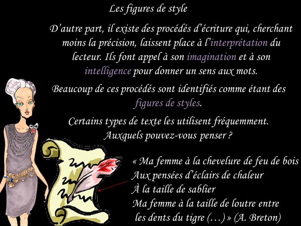 Les figures de style Pour rappeler un domaine que vous connaissez, très chère, on peut dire que c'est comme dans la mode : certains vêtements sont purement fonctionnels et utilitaires.
