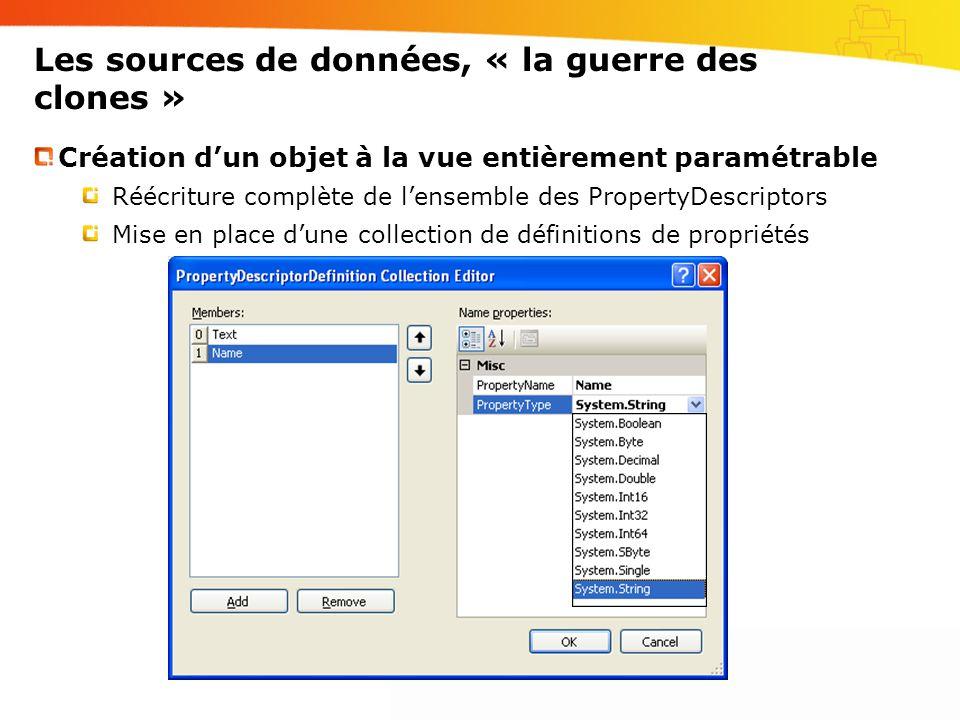 Les sources de données, « la guerre des clones » Création d'un objet à la vue entièrement paramétrable Réécriture complète de l'ensemble des PropertyDescriptors Mise en place d'une collection de définitions de propriétés