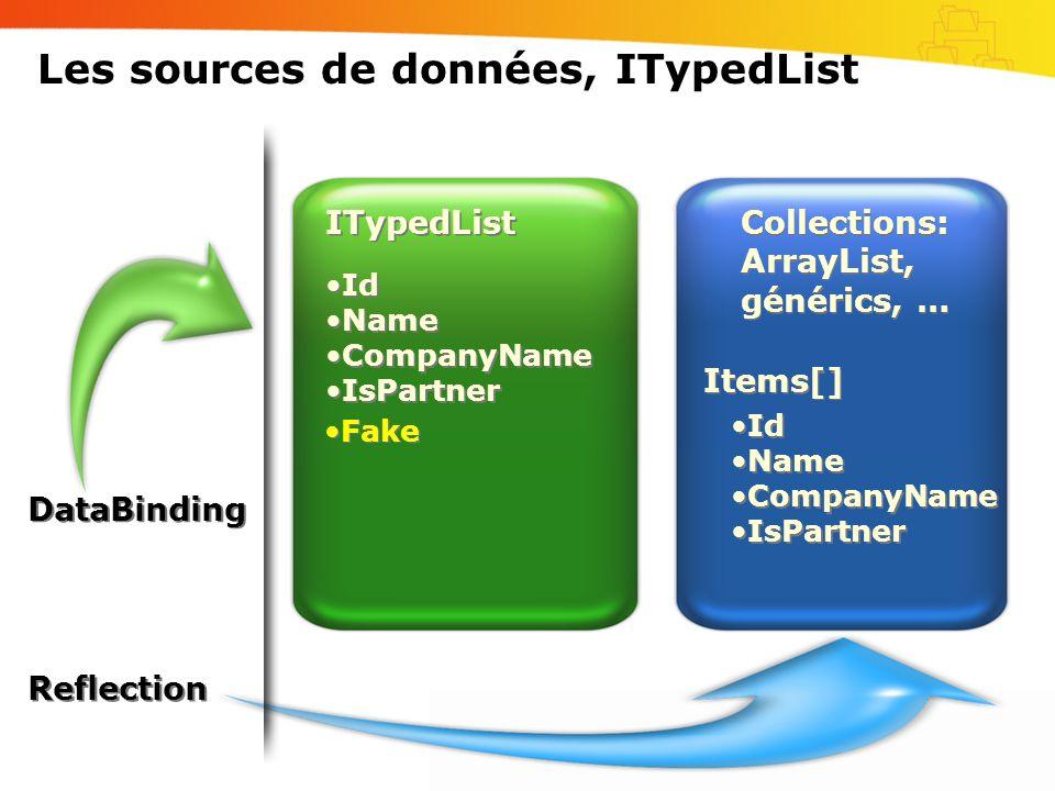 Les sources de données, ITypedList Collections: ArrayList, générics, … •Id •Name •CompanyName •IsPartner •Id •Name •CompanyName •IsPartner ITypedList