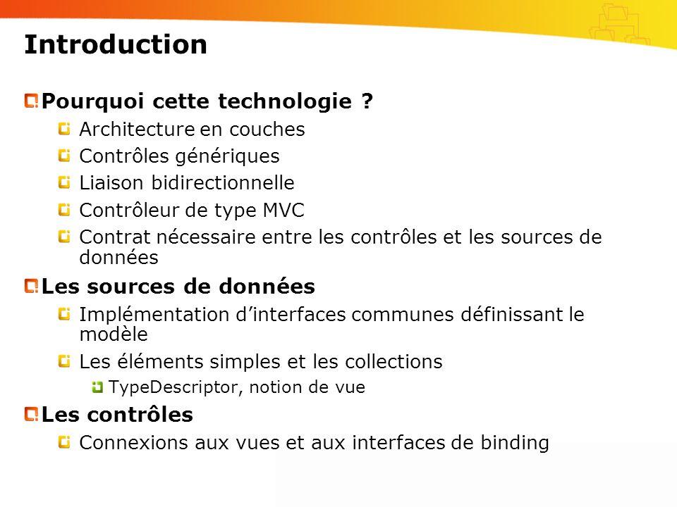 Introduction Pourquoi cette technologie ? Architecture en couches Contrôles génériques Liaison bidirectionnelle Contrôleur de type MVC Contrat nécessa