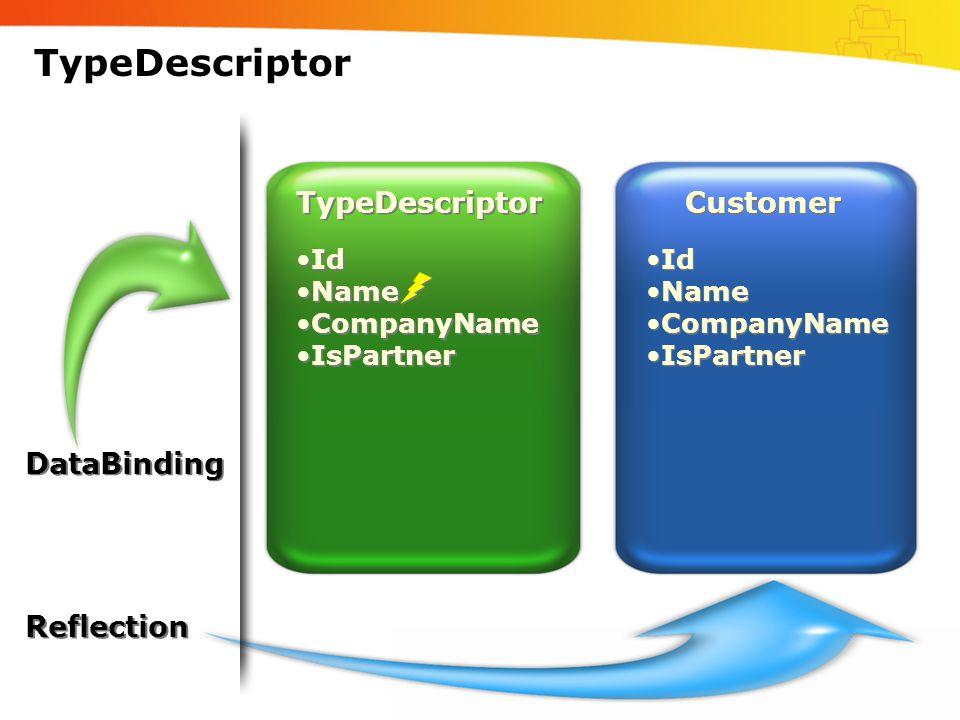 TypeDescriptor Customer •Id •Name •CompanyName •IsPartner •Id •Name •CompanyName •IsPartner TypeDescriptor •Id •Name •CompanyName •IsPartner •Id •Name