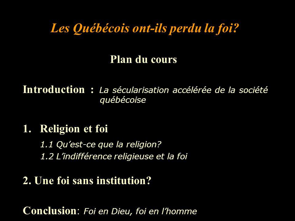 Plan du cours Introduction : La sécularisation accélérée de la société québécoise 1.