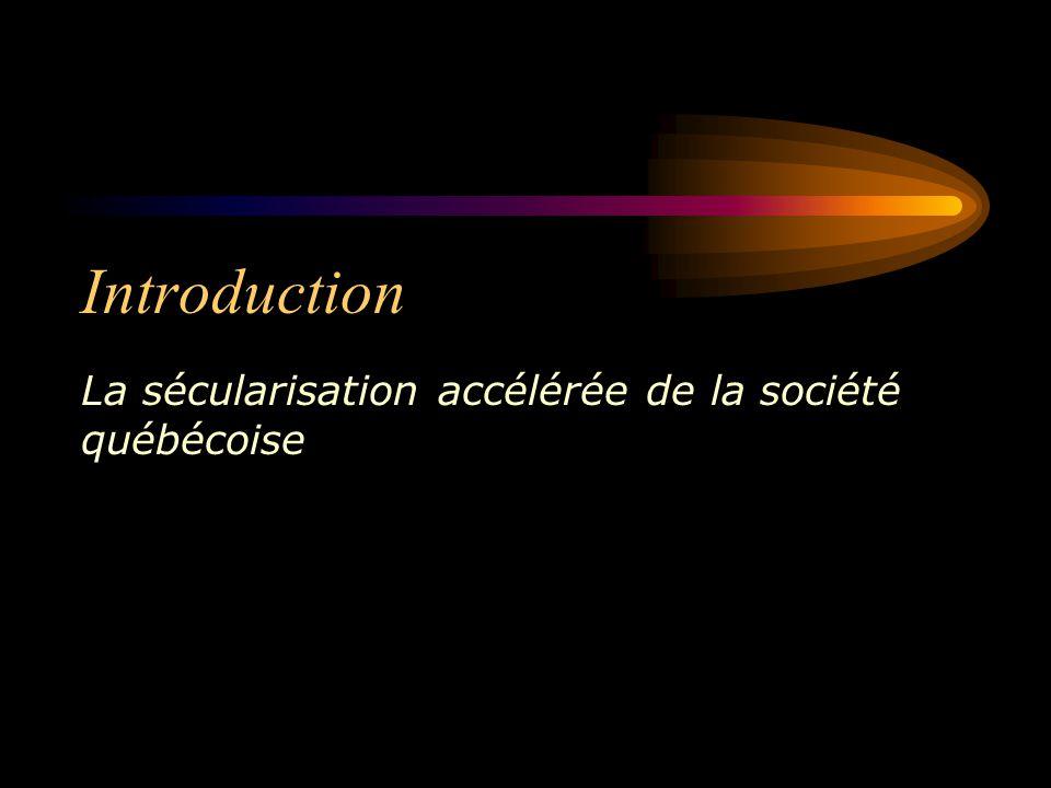 Introduction La sécularisation accélérée de la société québécoise