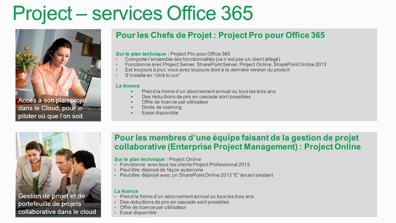 Accès à son plan projet dans le Cloud, pour le piloter où que l'on soit. Pour les Chefs de Projet : Project Pro pour Office 365 Sur le plan technique