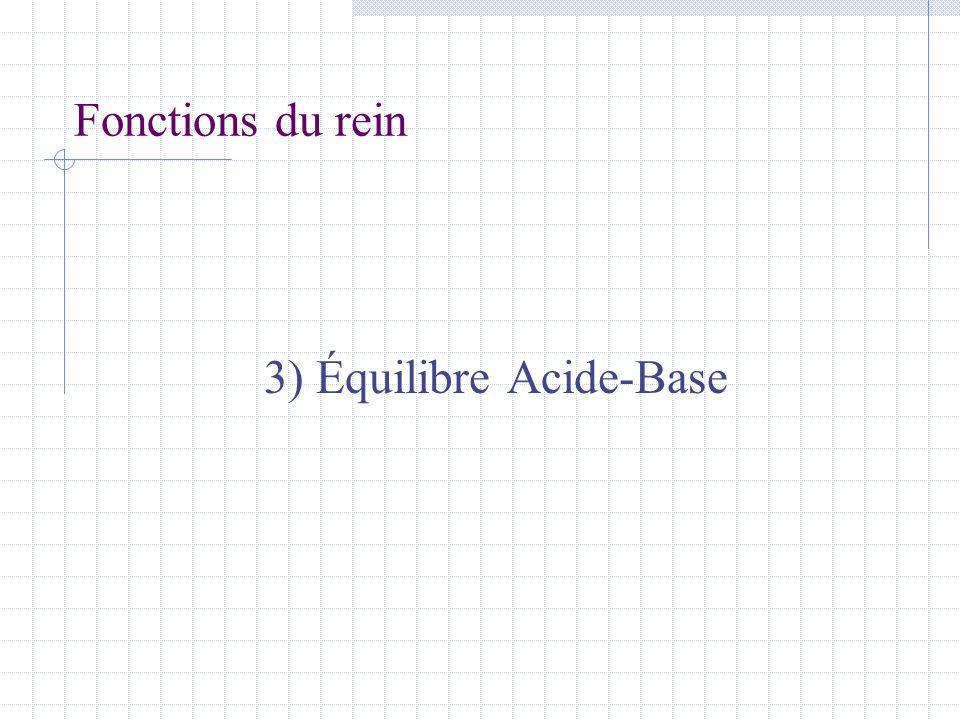 Fonctions du rein 3) Équilibre Acide-Base