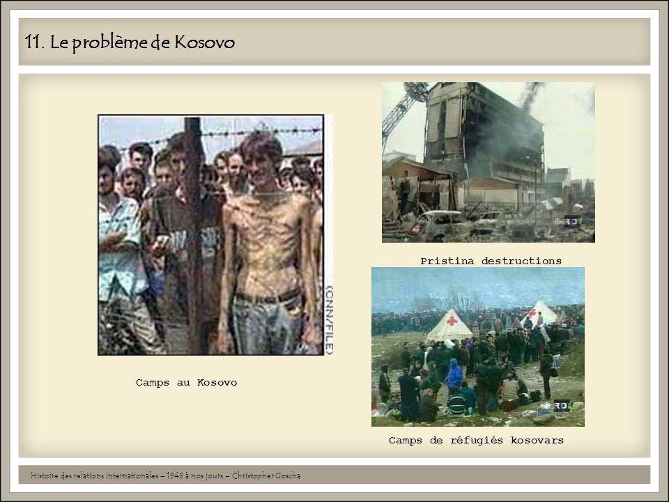 11. Le problème de Kosovo Histoire des relations internationales – 1945 à nos jours – Christopher Goscha Camps au Kosovo Pristina destructions Camps d