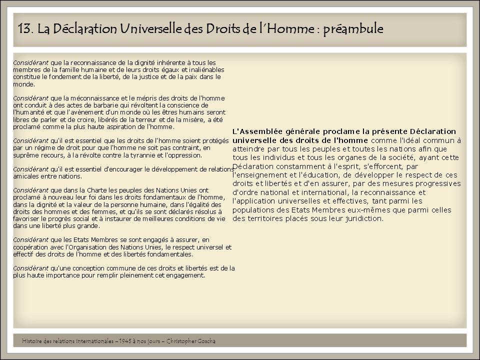 13. La Déclaration Universelle des Droits de l'Homme : préambule Histoire des relations internationales – 1945 à nos jours – Christopher Goscha