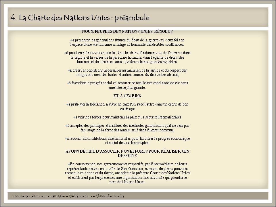 4. La Charte des Nations Unies : préambule Histoire des relations internationales – 1945 à nos jours – Christopher Goscha