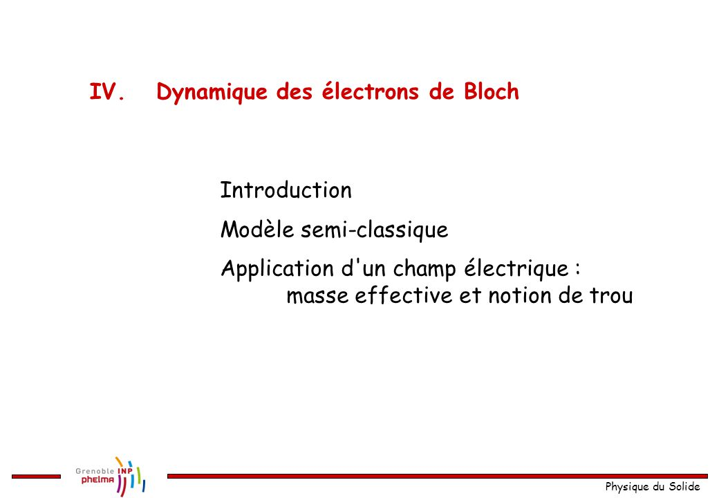 Physique du Solide Modèle semi-classique Application d'un champ électrique : masse effective et notion de trou Introduction IV.Dynamique des électrons