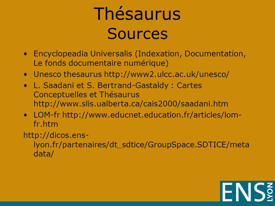 Thésaurus Sources •Encyclopeadia Universalis (Indexation, Documentation, Le fonds documentaire numérique) •Unesco thesaurus http://www2.ulcc.ac.uk/unesco/ •L.