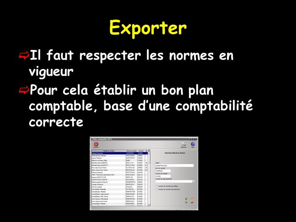 Exporter  Il faut respecter les normes en vigueur  Pour cela établir un bon plan comptable, base d'une comptabilité correcte