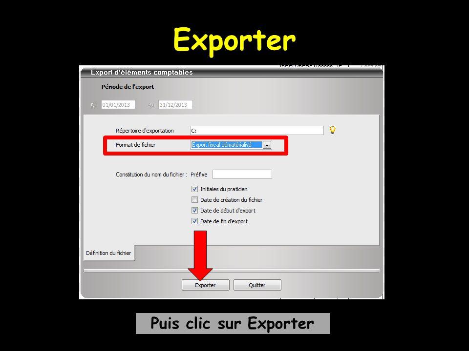 Exporter Puis clic sur Exporter
