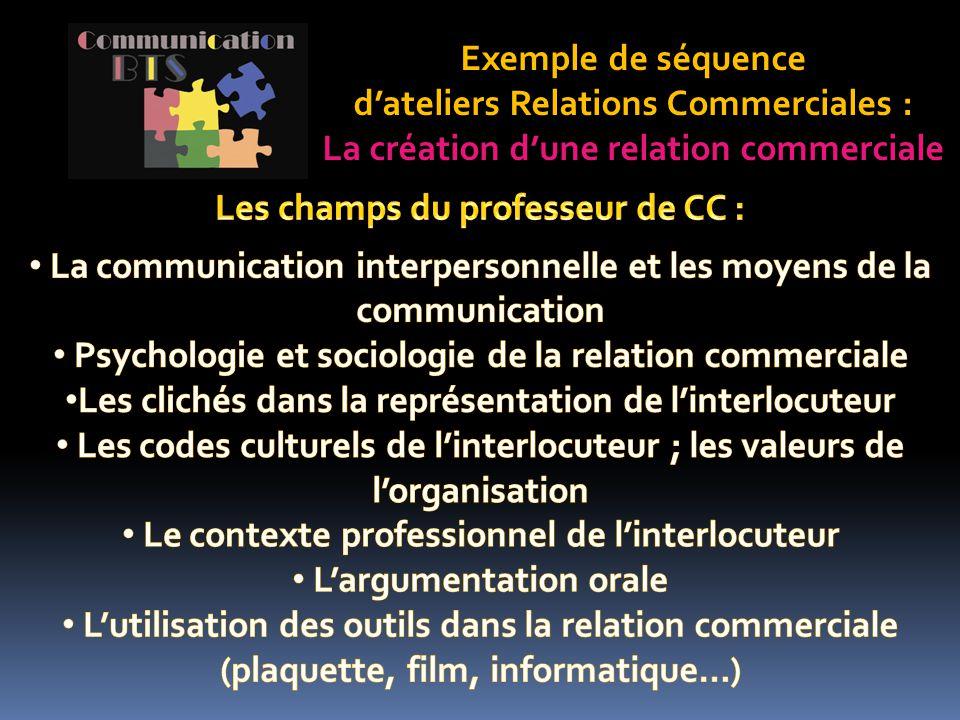 Exemple de séquence d'ateliers Relations Commerciales : La création d'une relation commerciale