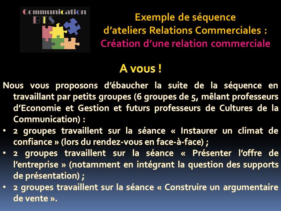 Exemple de séquence d'ateliers Relations Commerciales : Création d'une relation commerciale