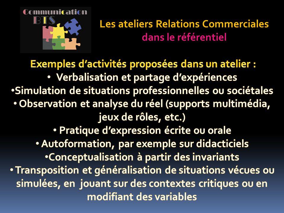 Les ateliers Relations Commerciales dans le référentiel