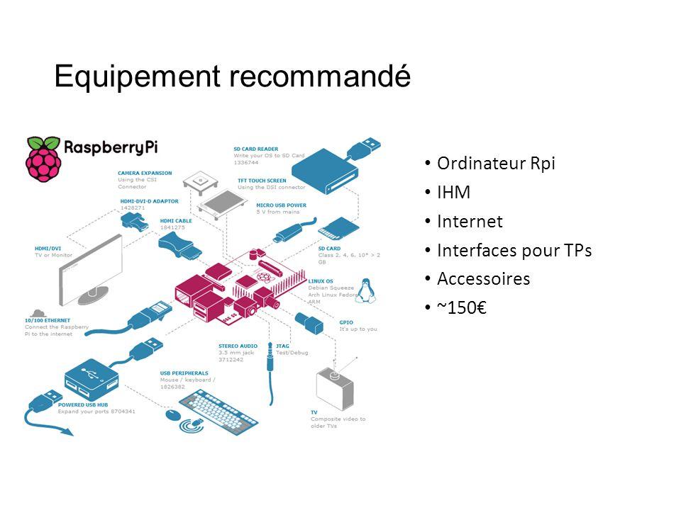 Equipement recommandé • Ordinateur Rpi • IHM • Internet • Interfaces pour TPs • Accessoires • ~150€