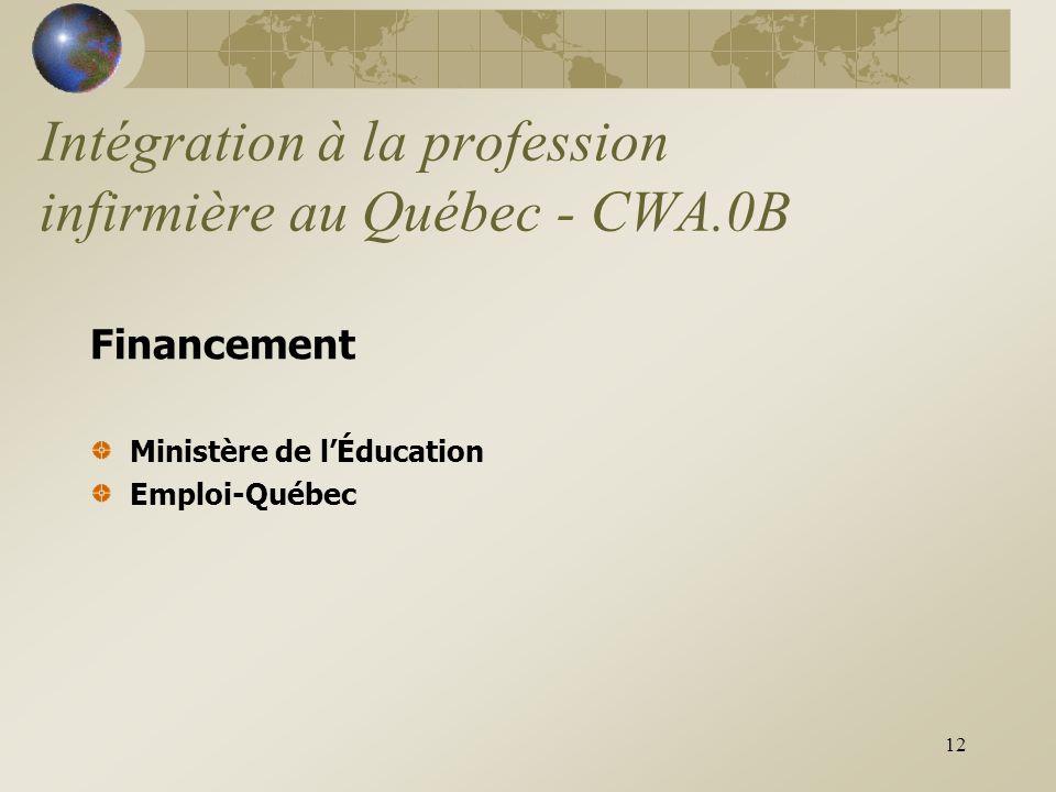 12 Intégration à la profession infirmière au Québec - CWA.0B Financement Ministère de l'Éducation Emploi-Québec