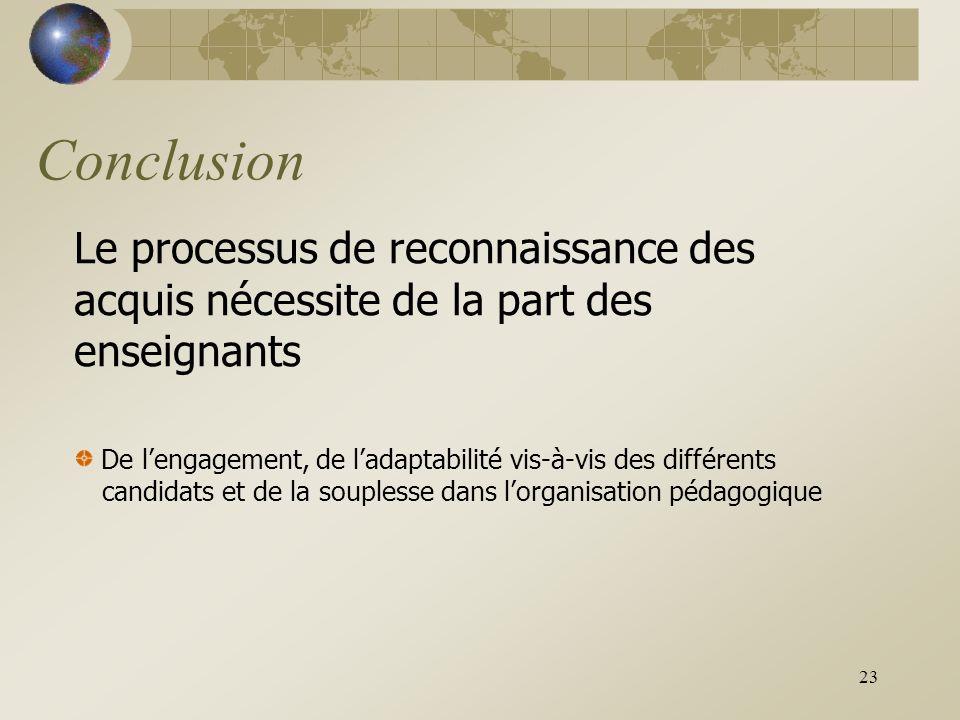 23 Conclusion Le processus de reconnaissance des acquis nécessite de la part des enseignants De l'engagement, de l'adaptabilité vis-à-vis des différents candidats et de la souplesse dans l'organisation pédagogique