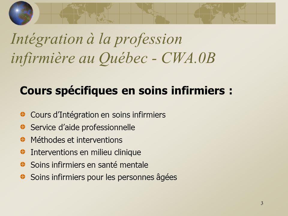 3 Intégration à la profession infirmière au Québec - CWA.0B Cours spécifiques en soins infirmiers : Cours d'Intégration en soins infirmiers Service d'aide professionnelle Méthodes et interventions Interventions en milieu clinique Soins infirmiers en santé mentale Soins infirmiers pour les personnes âgées