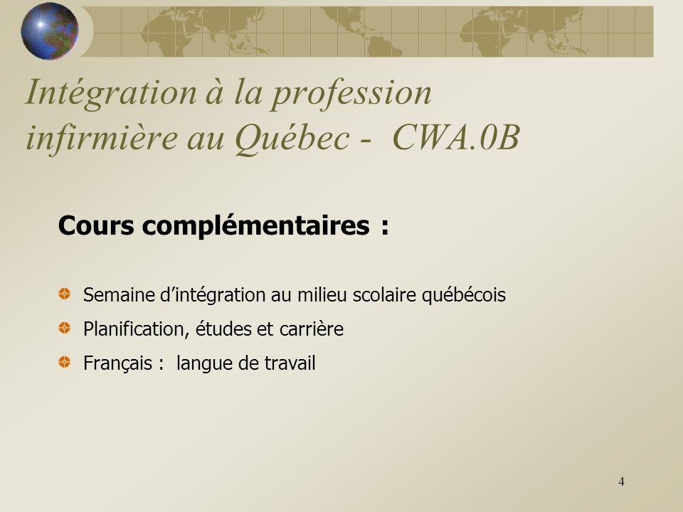 4 Intégration à la profession infirmière au Québec - CWA.0B Cours complémentaires : Semaine d'intégration au milieu scolaire québécois Planification, études et carrière Français : langue de travail