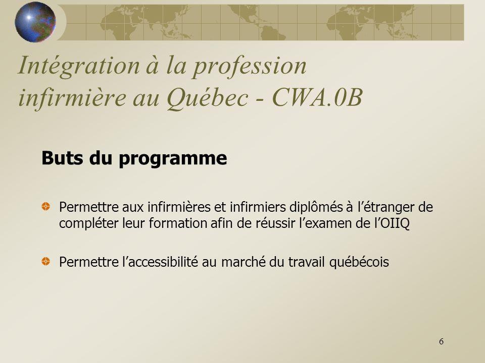 6 Intégration à la profession infirmière au Québec - CWA.0B Buts du programme Permettre aux infirmières et infirmiers diplômés à l'étranger de compléter leur formation afin de réussir l'examen de l'OIIQ Permettre l'accessibilité au marché du travail québécois
