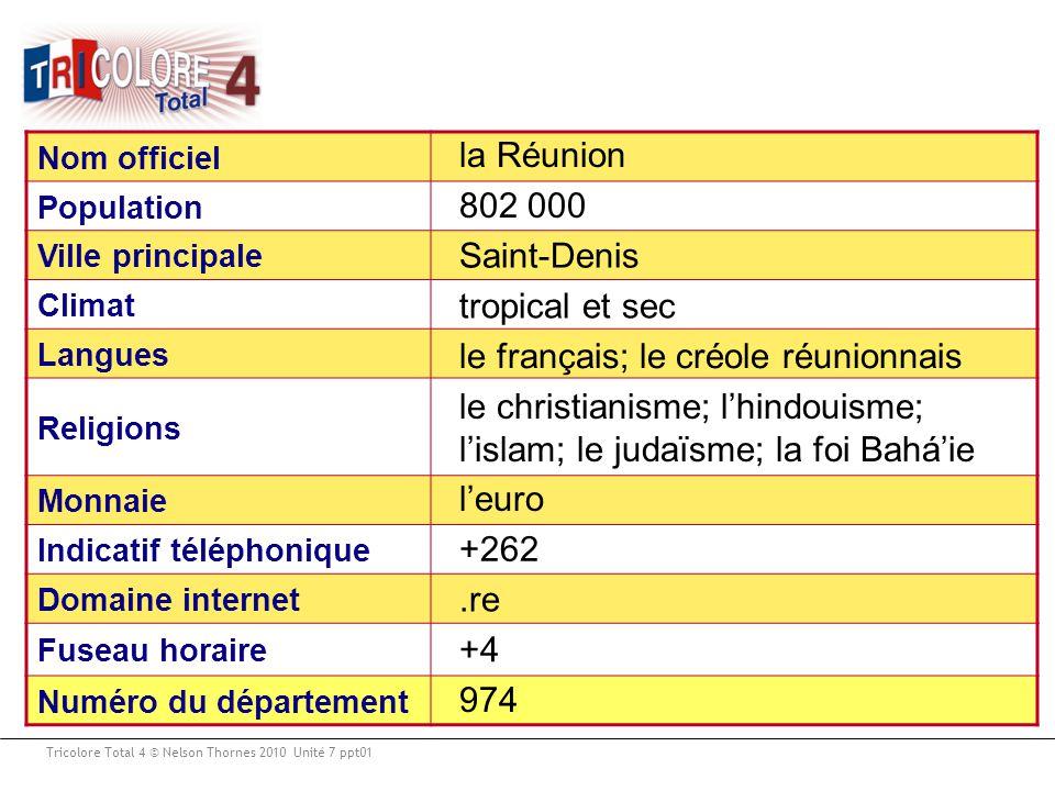 Tricolore Total 4 © Nelson Thornes 2010 Unité 7 ppt01 Nom officiel Population Ville principale Climat Langues Religions Monnaie Indicatif téléphonique