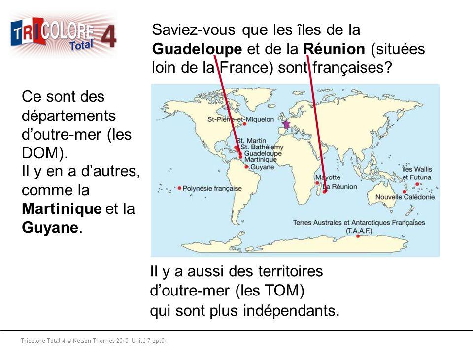 Saviez-vous que les îles de la Guadeloupe et de la Réunion (situées loin de la France) sont françaises? Ce sont des départements d'outre-mer (les DOM)