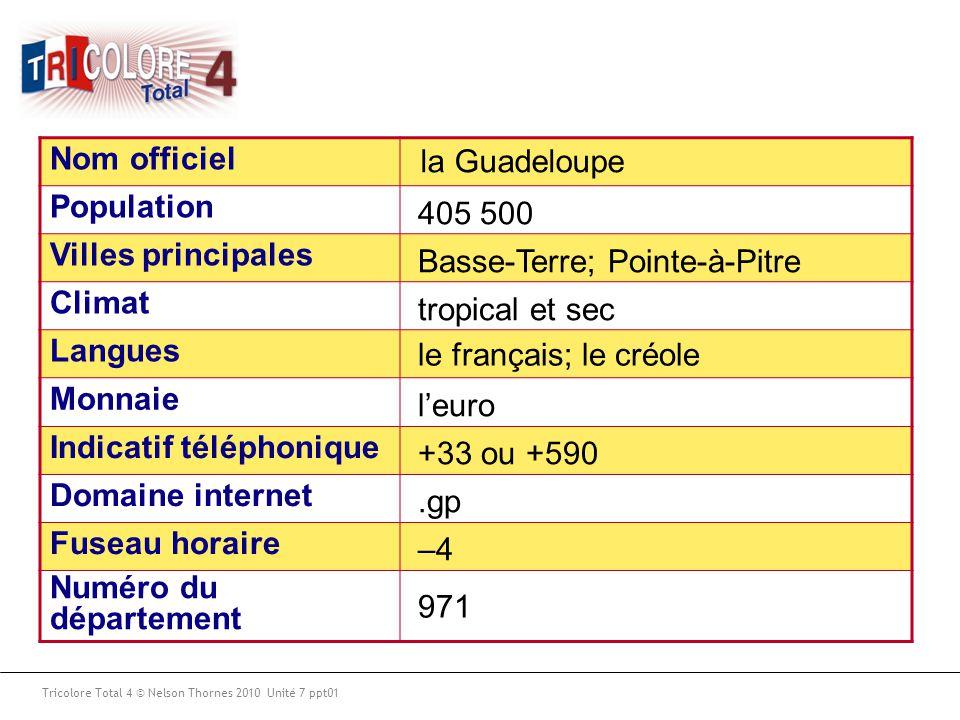 Nom officiel Population Villes principales Climat Langues Monnaie Indicatif téléphonique Domaine internet Fuseau horaire Numéro du département Tricolo