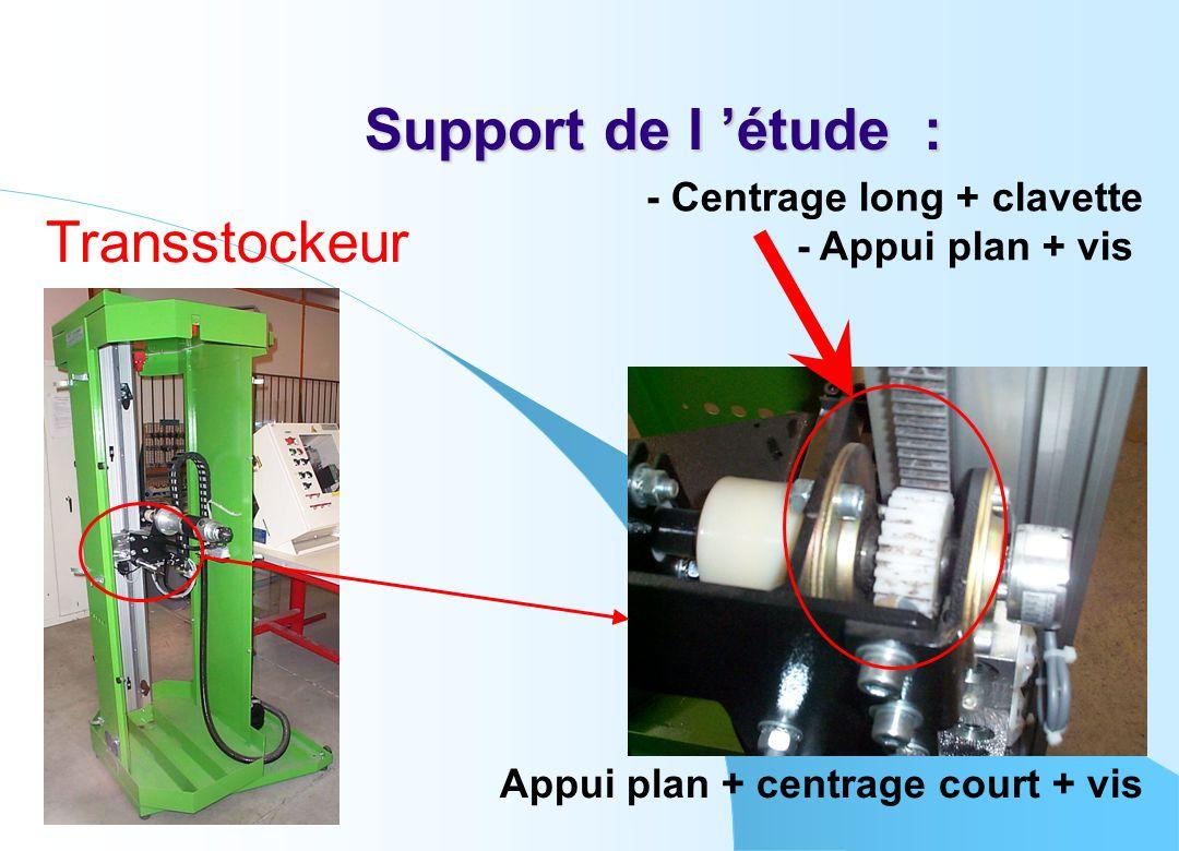 Support de l 'étude : Transstockeur - Centrage long + clavette - Appui plan + vis Appui plan + centrage court + vis
