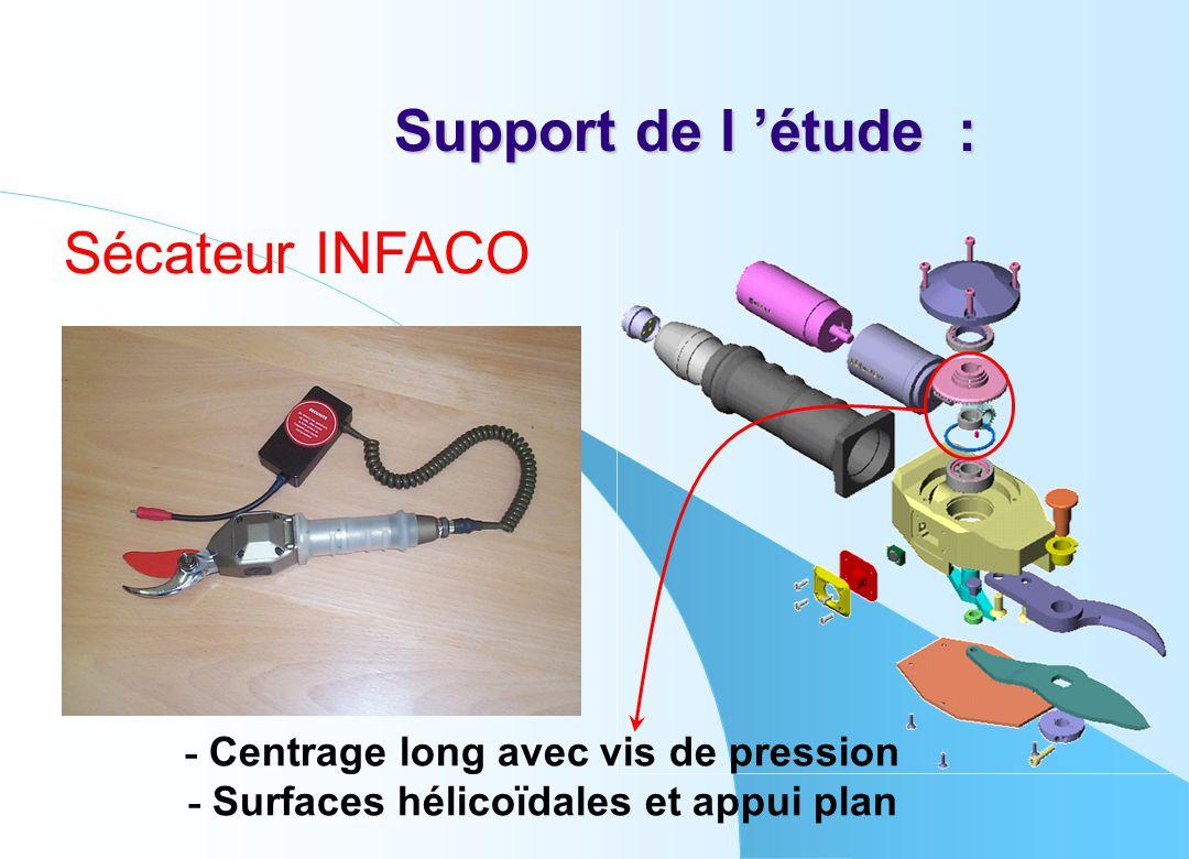 Support de l 'étude : Sécateur INFACO - Centrage long avec vis de pression - Surfaces hélicoïdales et appui plan