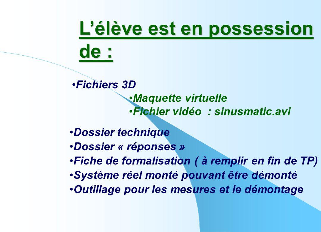 L'élève est en possession de : •Dossier technique •Fichiers 3D •Maquette virtuelle •Fichier vidéo : sinusmatic.avi •Fiche de formalisation ( à remplir