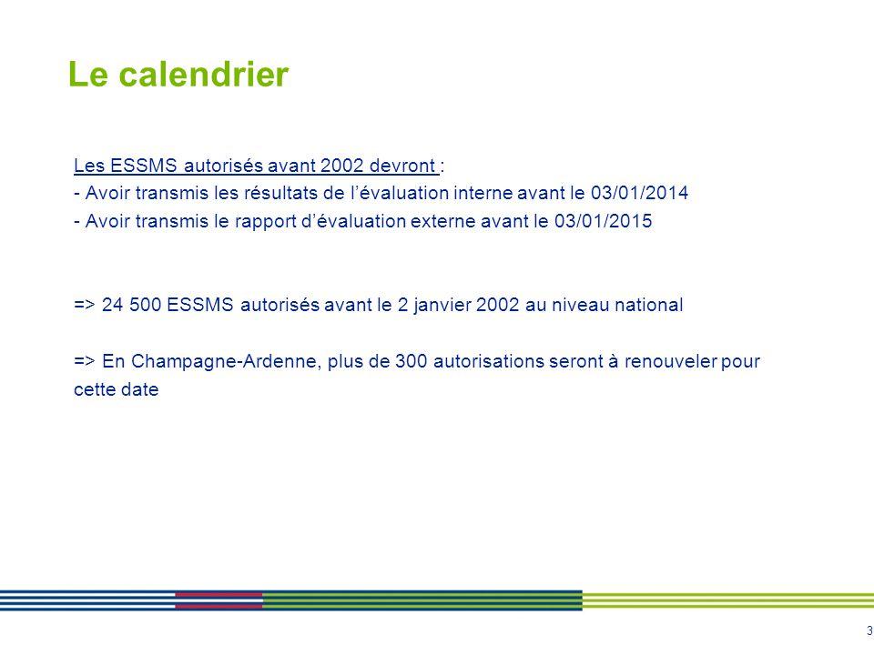 3 Le calendrier Les ESSMS autorisés avant 2002 devront : - Avoir transmis les résultats de l'évaluation interne avant le 03/01/2014 - Avoir transmis l