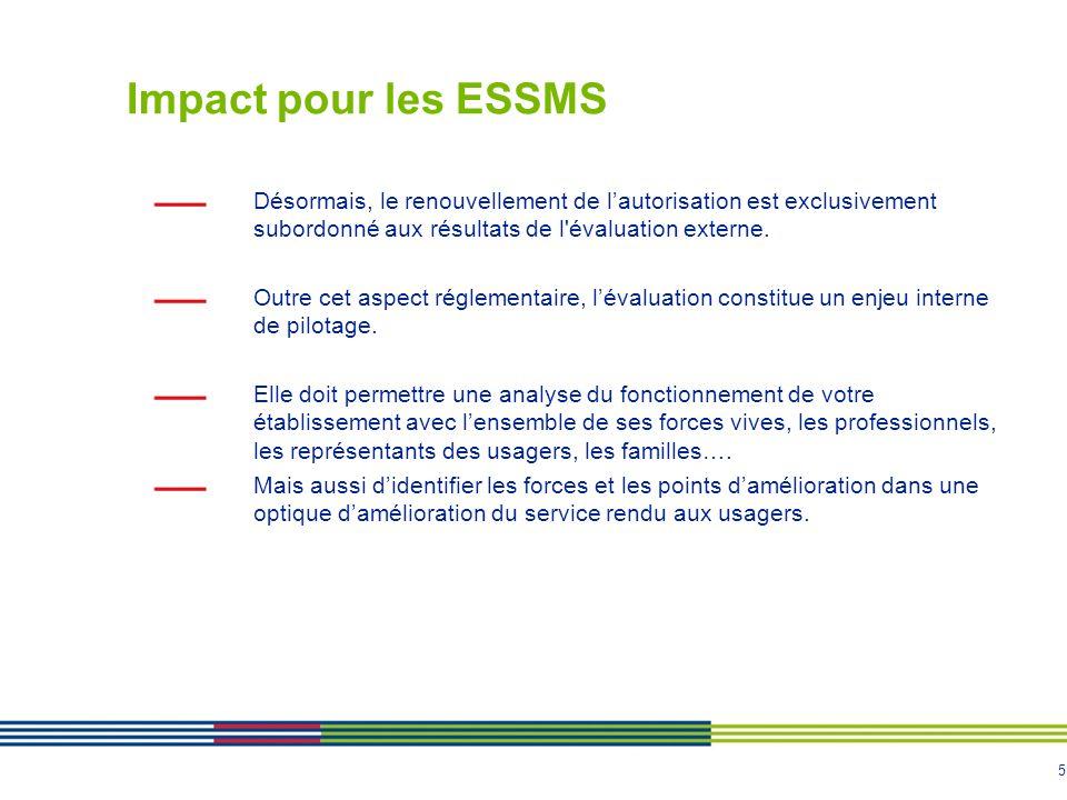 5 Impact pour les ESSMS Désormais, le renouvellement de l'autorisation est exclusivement subordonné aux résultats de l'évaluation externe. Outre cet a
