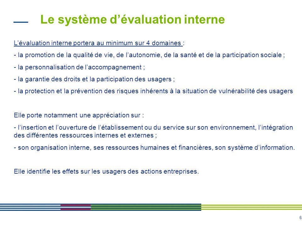 6 Le système d'évaluation interne L'évaluation interne portera au minimum sur 4 domaines : - la promotion de la qualité de vie, de l'autonomie, de la