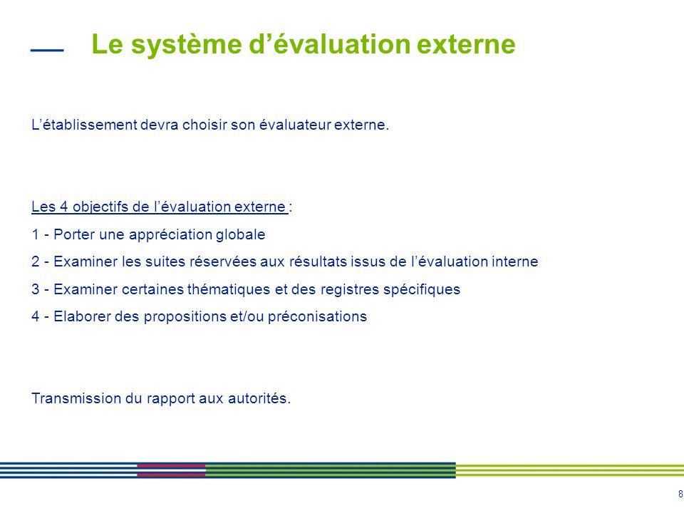8 Le système d'évaluation externe L'établissement devra choisir son évaluateur externe. Les 4 objectifs de l'évaluation externe : 1 - Porter une appré