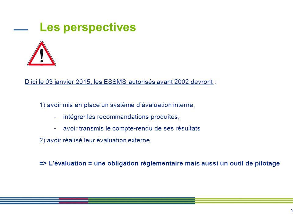 9 D'ici le 03 janvier 2015, les ESSMS autorisés avant 2002 devront : 1) avoir mis en place un système d'évaluation interne, -intégrer les recommandati