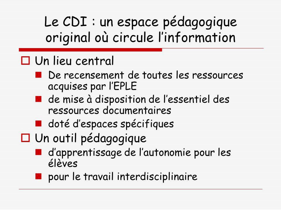 Le CDI : un espace pédagogique original où circule l'information  Un lieu central  De recensement de toutes les ressources acquises par l'EPLE  de