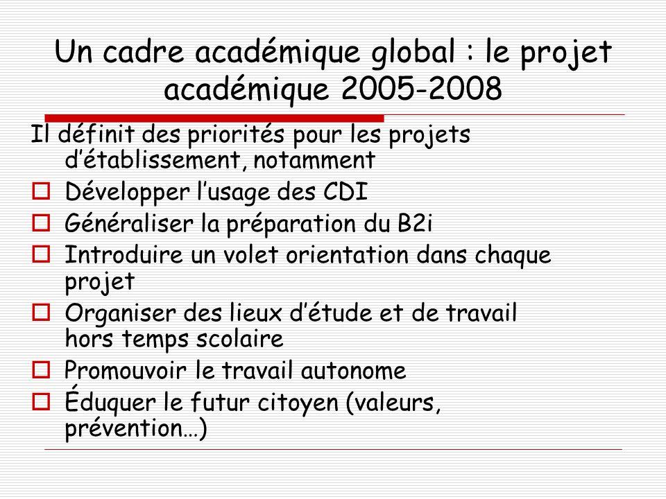 Un cadre académique global : le projet académique 2005-2008 Il définit des priorités pour les projets d'établissement, notamment  Développer l'usage