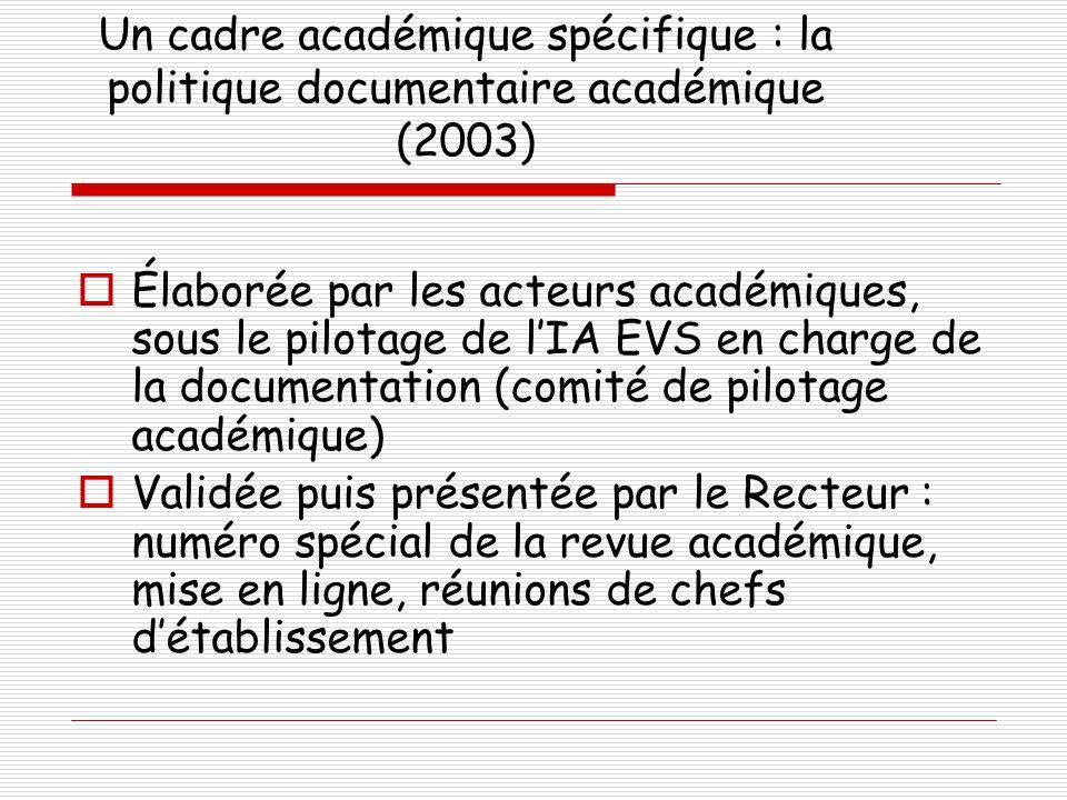 Un cadre académique spécifique : la politique documentaire académique (2003)  Élaborée par les acteurs académiques, sous le pilotage de l'IA EVS en c