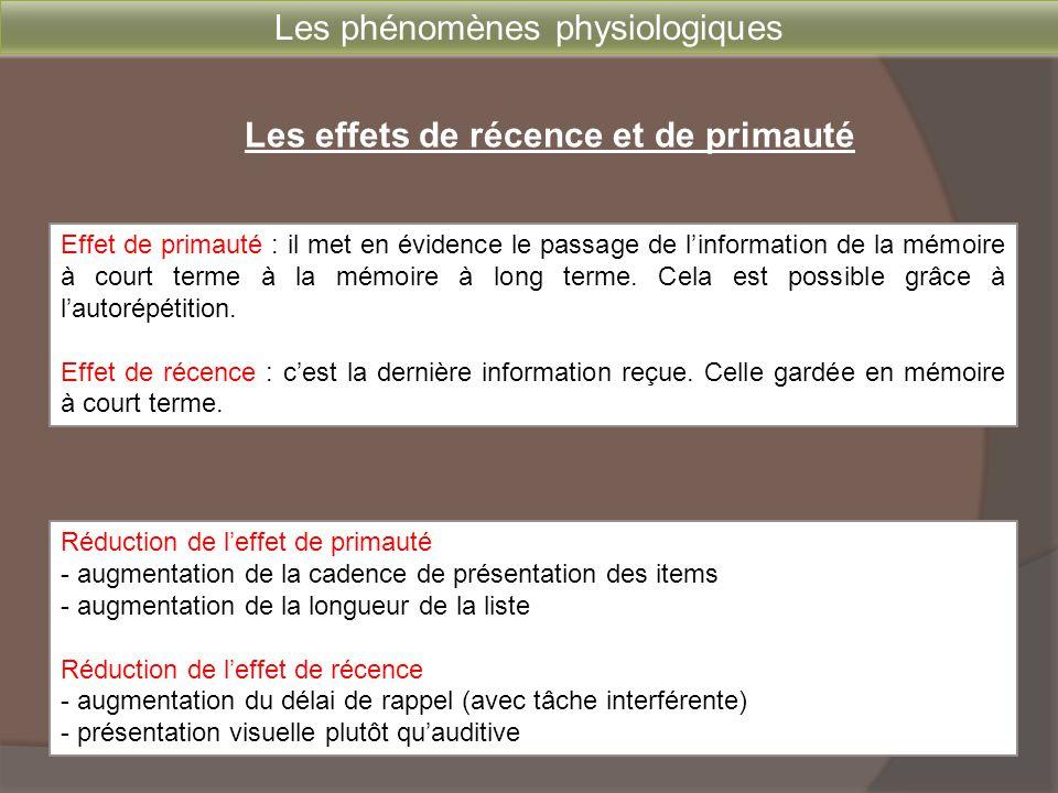 Les phénomènes physiologiques Les effets de récence et de primauté Réduction de l'effet de primauté - augmentation de la cadence de présentation des i