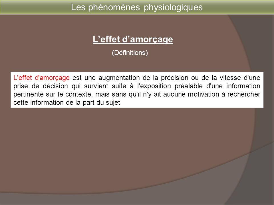 Les phénomènes physiologiques L'effet d'amorçage est une augmentation de la précision ou de la vitesse d'une prise de décision qui survient suite à l'