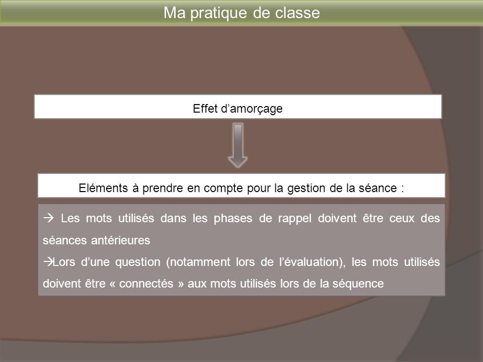 Ma pratique de classe Effet d'amorçage  Les mots utilisés dans les phases de rappel doivent être ceux des séances antérieures  Lors d'une question (