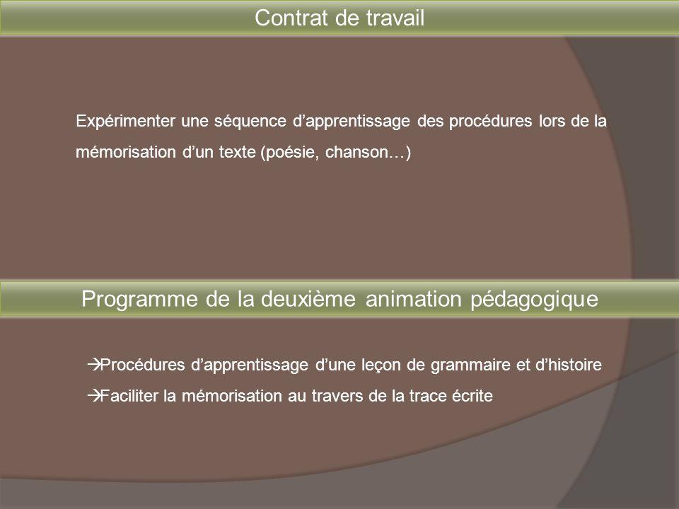Contrat de travail Expérimenter une séquence d'apprentissage des procédures lors de la mémorisation d'un texte (poésie, chanson…) Programme de la deux